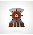 Flat color steering wheel icon vector image vector image