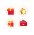 gift box discount tag and sale bags icons first vector image