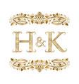h and k vintage initials logo symbol vector image