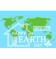 Happy Earth Day greeting card with the hous vector image vector image