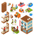 hostel isometric icons set vector image vector image