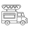 hot dog truck icon outline style vector image vector image