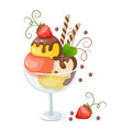 isolated ice cream on white with strawberry vector image vector image