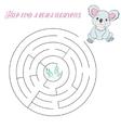 Labyrinth maze find a way koala vector image vector image