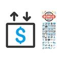Money Elevator Icon With 2017 Year Bonus vector image