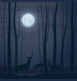 night scene with a forest moon and deers vector image vector image