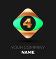 number letter four logo in the golden-green square vector image vector image