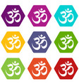 om symbol hinduism icons set 9 vector image