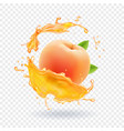 peach juice realistic fresh fruit splash of juice vector image vector image