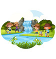 people fishing next to waterfall vector image