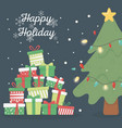 pine tree lights and many gifts celebration happy vector image vector image