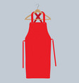 red kitchen apron chef uniform for cooking vector image vector image