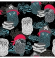 Seamless pattern with owl pirates vector image vector image