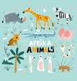 set african animals in a flat style set vector image