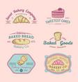 set vintage bakery logos retro emblems vector image