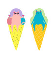 set with ice cream cones and cats funny vacation vector image