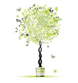 Spring floral tree green in pot for your design vector image
