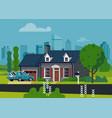 suburban house scene vector image