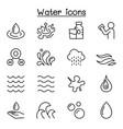 water liquid aqua icon set in thin line style vector image