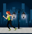 women running in the cityscape vector image