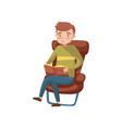young man sitting on the chair and reading a book vector image vector image
