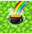 St Patricks Day Cauldron with Gold Coins vector image