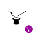 Magic wand with magician hat and stars black vector image