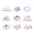 mountain original logo design watercolor vector image