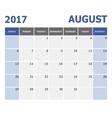 2017 August calendar week starts on Sunday vector image vector image