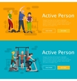 Active fitness person man and woman workout in gym vector image vector image