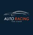 auto racing symbol on dark blue background silver vector image vector image