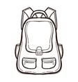 backpack with school supplies coloring book vector image vector image