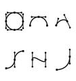 black bezier curve icons set vector image