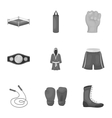Boxing set icons in monochrome style Big vector image vector image
