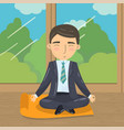 businessman meditating in yoga lotus position vector image