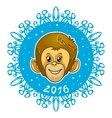 Card with snowflake and monkey symbol of 2016 vector image