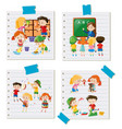 children doing different activities together vector image vector image