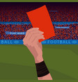 close up hand holding red card vector image