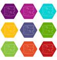 coliseum icons set 9 vector image