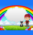 cute boy with dog in the park on rainbow day vector image vector image