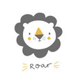 cute lion with hand lettering roar baby lion vector image