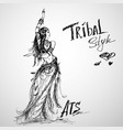 dancing girl tribal hand drawing vector image vector image