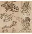 Dragons An hand drawn in one pack vector image vector image