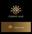 ecology leaf shine gold logo vector image