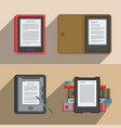 electronic books icon set flat electronics vector image vector image