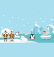 eskimo with artic animal background vector image vector image