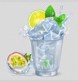 faceted glass with cocktail and ice fresh lemon vector image vector image
