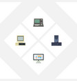 flat icon computer set of technology display vector image vector image
