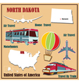Flat map of North Dakota vector image