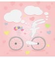 Funny little white Bunny on Bicycle vector image vector image